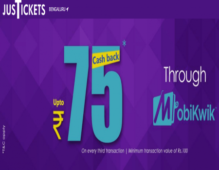 Justickets Coupon Codes Offers: Flat 10% MobiKwik SuperCash upto Rs.150