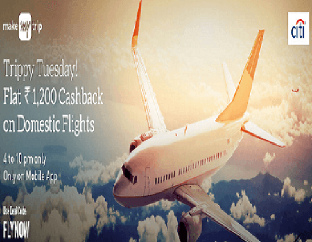 MakeMyTrip TrippyTuesday offer: Flat 1200 Cashback On Domestic Flight Ticket Booking
