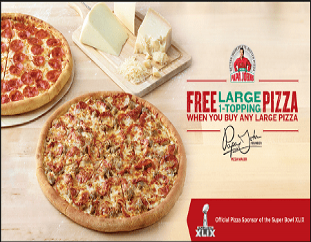 Papa Johns Coupons & Offers: Get 1 Large Pizza Free - May 2018