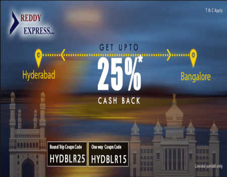 Reddy Express Coupons Offers - Flat 50% Cash back Bus Ticket Booking May 2018
