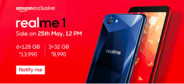 RealMe 1 Amazon Price @ Rs 8990 : Sale @25th May 12PM, Specifications & Buy Online