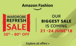 Amazon Wardrobe Refresh Sale [21-24 June]- Get Upto 40-80% OFF on Clothing, Footwear and Fashion Products + 15% Cashback Using ICICI Debit & Credit Cards