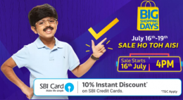 Flipkart Big Shopping Days Offers: Get Upto 90% OFF on Mobiles, Electronics Gadgets, Clothing Footwear and more, Extra 10% instant Discount* with SBI Credit Cards