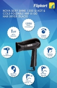 Buy Nova Silky Shine 1200 W Hot And Cold Foldable NHP 8100 Hair Dryer (Black) just at Rs 399 only From Flipkart