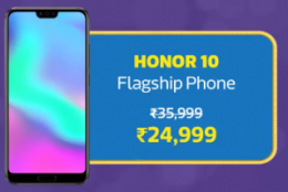 Honor 10 Big Billion Day Sale Flipkart Price @Rs 24,999 + Extra 10% Instant Discount* with HDFC Bank Debit/Credit Cards