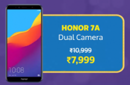 Huawei Honor 7A Big Billion Day Sale Flipkart Price just at Rs 7,999 + Extra 10% Instant Discount* with HDFC Bank Debit/Credit Cards