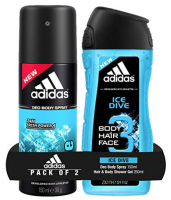 Buy Adidas Ice Dive Deodorant Body Spray, 150ml with Ice Dive Shower Gel, 250ml just at Rs 180 only from Amazon
