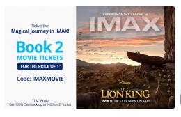 Paytm Movie Tickets Offer: Buy 2 IMAX Movie Tickets and Get 100% Cashback Upto Rs 400 on 2nd Ticket