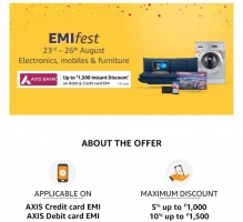 Amazon EMI Fest Offers [16th To 22nd September] Upto Rs 1500 Instant Discount On Electronics, Mobiles and Furnitures Via ICICI & BOB Bank cards