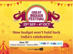 Amazon Great Indian Festival Sale 29th September-4th October 2019 Offers: Upto 80% OFF On Mobiles, Clothing, Electronics, TV & Appliances + Extra Discount using SBI Cards