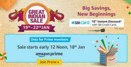 Amazon Great Indian Sale 19th-22nd January 2020 Offers: Upcoming Republic Day Sale Upto 80% OFF On Mobiles, Clothing, Electronics, TV & Appliances + Extra Discount Via SBI Bank Credit Cards