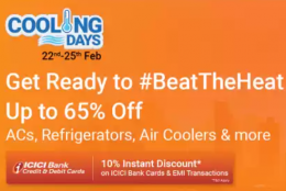 Flipkart Cooling Days offers: Upto 65% OFF on AC's, Refrigerators, Air Coolers, Extra 5% Prepaid Discount [6th - 8th March]