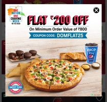Domino's Pizza Coupons & Offers: Flat Rs 200 OFF On Rs 800 Or Above Pizza Ordering, Extra Amazon Pay Cashback.