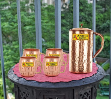 Buy Angelic Copper Handmade Copper Jug with Designer Cup Set, Set of 4, Brown at Rs 875 from Amazon