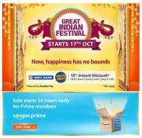 Amazon Great Indian Festival Sale 16th October 2020 Offers: Upto 80% OFF On Mobiles, Clothing, Electronics, TV & Appliances, Extra Discount Via HDFC Bank Credit Cards