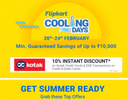 Flipkart Cooling days Offers: Upto 65% OFF on Air Conditioners, Refrigerators and Coolers + Extra Prepaid + 10% Kotak Bank Discount