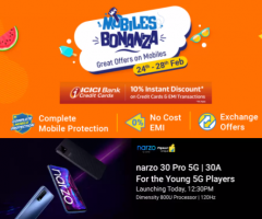 Flipkart Mobile Bonanza Offer [24th-28th Feb 2021] Upto 50% OFF on Mobiles, Extra 10% ICICI Bank Discount