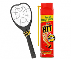 Buy HIT Anti Mosquito Racquet- Rechargeable Insect Killer Bat & Cockroach Killer Spray, 200ml Combo at Rs 472 from Amazon