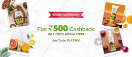 MamaEarth Wow Wednesday Coupons Offers: Flat Rs 500 Cashback on Orders of Rs 999 or more- Coupon Code: FLAT500