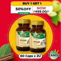 Buy Zandu Shilajit (60 Caps, Buy 1 Get 1 Offer) at Rs 499 only. Zandu Shilajit Uses and Health Benefits