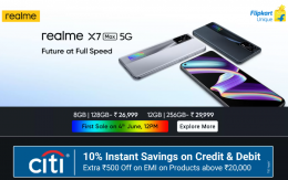 Buy Realme X7 Max 5G Smartphone Flipkart Price in India Rs 24,999- Specifications, Extra ICICI Bank Discount