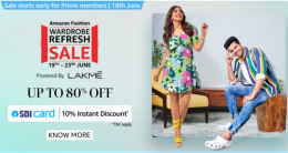 Amazon Fashion Wardrobe Refresh Sale Discount Coupons Offers- Get Upto 80% Off On Clothings & Fashion + Extra 10% OFF via SBI Bank Cards [19th-23rd June 2021]