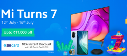 Xiaomi Mi Anniversary Sale Discount Offers- MI Turns 7, Get Exclusive Offers on Mi Products + Extra 10% SBI Discount